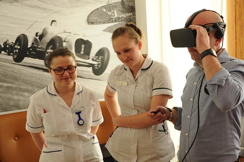 Demonstrating the VR equipment